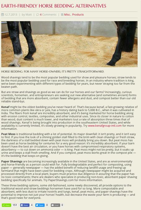 Alternative Horse Bedding Blog Post