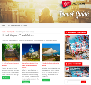 Virgin Vacations UK Travel Guide Blog Page