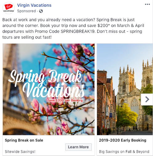 Virgin Vacations Facebook Advertising